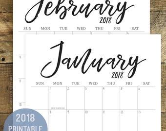 2018 Calendar, Printable, Minimal, Hand Lettered, Digital Download, Wall Calendar, Monthly Calendar, Print at Home