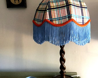 Vintage Retro Handmade 'Elliot' Lampshade - Blue Stripes