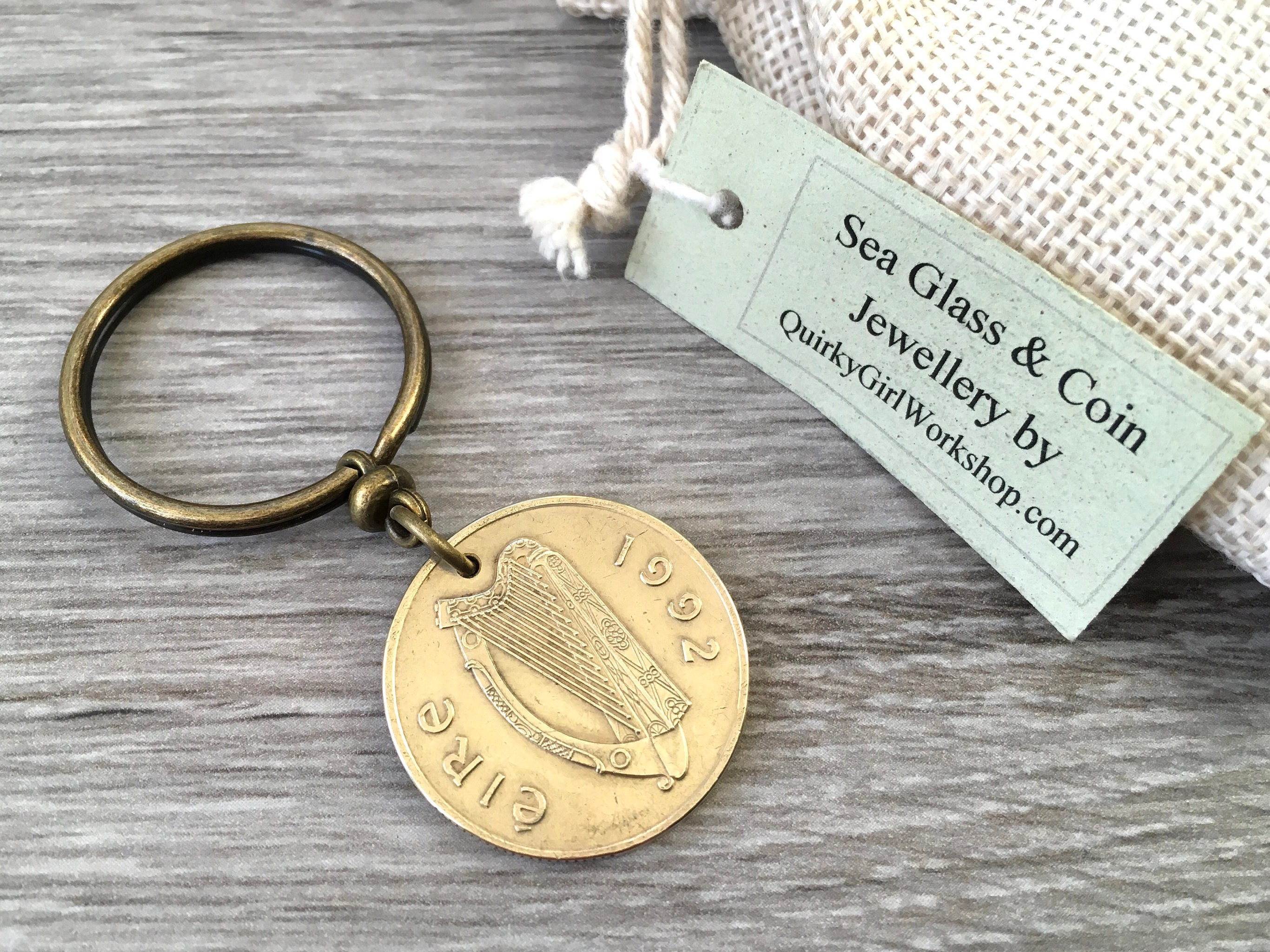 26th Wedding Anniversary Gift: 1992 Or 1994 Irish Coin Keyring, Ireland Keychain, 24th Or