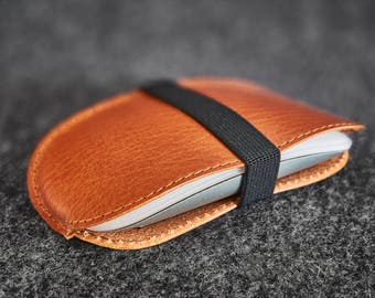 Leather Apple Magic Mouse Case Hand-stitched Dark Camel Leather