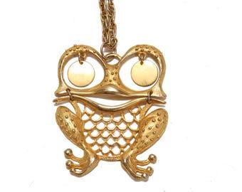 1970s Gold Tone Metal Figural Trembler Novelty Frog Statement Necklace