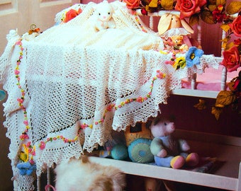 Picot Shell Baby Afghan By Erma Fielder Crochet Collector's Series Vintage Crochet Pattern Leaflet 1997