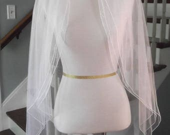 Sparkling Three Layer Fingertip Veil with Bridal Illusion, Sparkle Illusion and Angel Dust Illusion