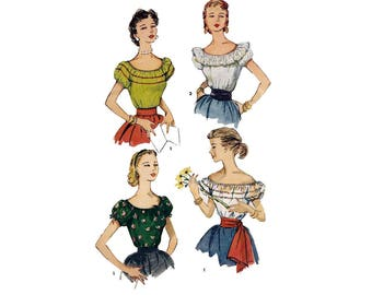 50's Off the Shoulder Peasant Blouse Sewing Pattern Misses Size 12 Uncut Vintage 1950's Simplicity 4678