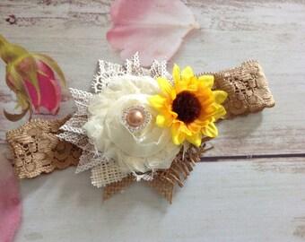 Country rustic sunflower newborn baby girls headband-photo prop,fall headband
