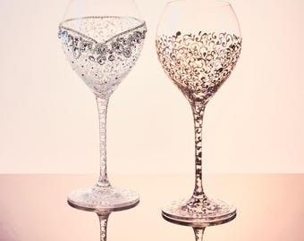Wedding Glasses Flutes MR Mrs Personalized Hand Painted Wine