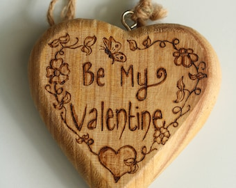 "Rustic decorative heart ""Be My Valentine"" - customisable valentines gift"