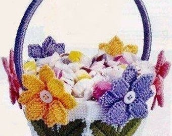 BLOOMIN' BASKET - Summertime Table Decor - Potpourri, Candy Holder - Pastel Posies - Floral Decoration