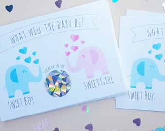 10 Gender Reveal Elephant Scratch off Cards