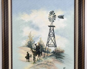 Don Quixote de la Mancha Painting - 'The World As It Should Be' - Original Oil on Thrift Painting by Dave Pollot - Spanish Art Pop Culture