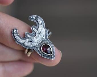 The Animal In Me - Deer Ring, Wildlife Ring, Garnet Ring, Antler Ring, Gemstone Ring, Oh Deer Ring, Hunters Ring, Spiritual Ring, Swedish