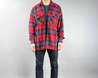 Thick Red Plaid FLANNEL Shirt, Men's Vintage 90s Clothing Patterned Long Sleeve Oversized 1990s Unisex Hipster Boyfriend Gift . Large L