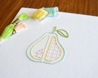 Cleaver Pear hand embroidery pattern, modern embroidery, fruit design, embroidery patterns, embroidery PDF, PDF pattern