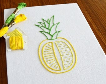 Pineapple Cleft hand embroidery pattern, modern embroidery, fruit design, embroidery patterns, embroidery PDF, PDF pattern