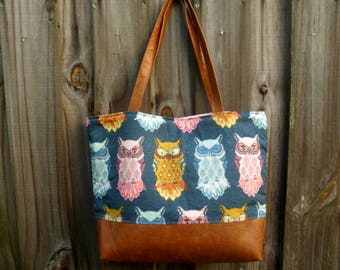 Owl Tote Bag, Large Diaper Bag, Weekend Bag, Fabric Purse, Owl Shoulder Bag, New Mom Gift