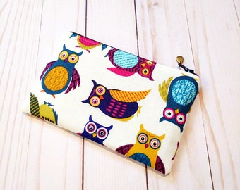 Colorful Owls Small Zipper Pouch