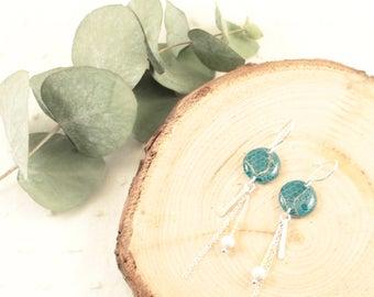 Boucles d'oreille pendantes vert - Argent 925