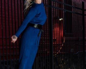 Royal blue, Angora, Wool, Long dress