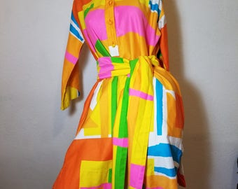 FREE  SHIPPING   1960  Mod  Geometric  Designer  Dress