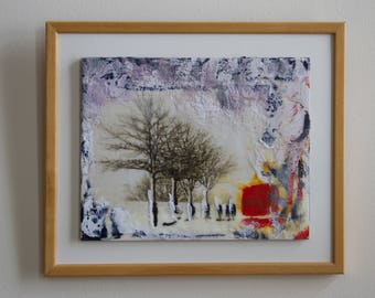 Original encaustic painting, snow white and red abstract, multimedia in encaustic