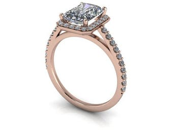 Emerald Cut or Radiant Cut Engagement Ring, Forever One or Harro Moissanite, Rose Gold and Diamonds, Diamond Alternative