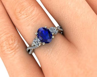 Oval Sapphire Engagement Ring, Natural Blue Sapphire, Infinity Band, Sapphire and Diamond Engagement Ring, White Gold, Ethical Diamonds