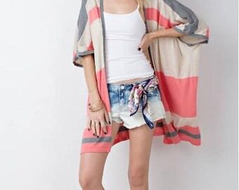 Striped Kimono, Beach Kimono, Beach Cover Up, Swimsuit Cover Up, Summer Cardigan, Bohemian, Gift for her, Beach Kimono, Boho Kimono