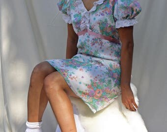 Vintage 1960's Dress | Baby Doll Dress | Floral | Lace Ruffles | Pastel | Puffed Sleeve | Size Small