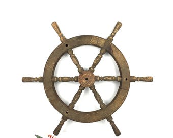 Original Antique Ships Wheel Old Nautical Wood Ships Wheel Vintage Original Wooden Ships Steering Wheel Old Wood Ships Wheel
