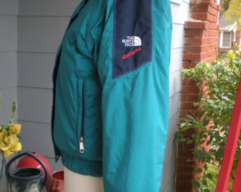 The North Face Extreme Gore Tex Ski Jacket Size 8 Made in USA Blue/Green Navy Accent Embroidered red extreme