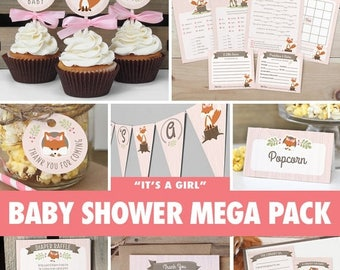 SALE Girl Woodland Baby Shower Mega Pack // INSTANT DOWNLOAD // Fox Baby Shower Games & Decorations // Printable Bs02