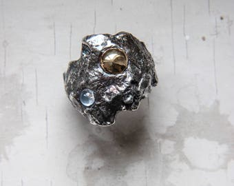 Moon ring, rough ring, moonstone ring, textured ring, sterling silver ring, brutalist ring, unique ring, silver and gold, unisex ring