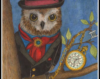 Magical Time Keeping Owl, pocket watch, roman numberals, whimsical  card or print portrait -  Watercolor, Item #0600a