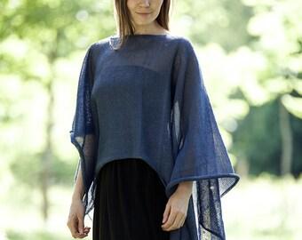 Linen knitwear, linen poncho, gift for mother, linen blouse, linen wrap, natural linen kaftan, linen clothing, boho linen poncho, linen