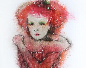 Original Watercolor painting Female portrait. Original watercolor and Ink Painting. Watercolor wall art. Female watercolor illustration