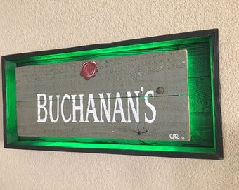 Rustic Buchanan's Scotch Whiskey light up sign