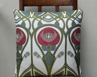 "Cushion in Charles Rennie Mackintosh Roses Fabric 16"" x 16"""