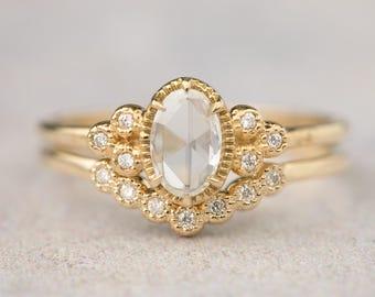 Rose cut diamond engagement ring 14k solid gold, Unique diamond engagement ring set, Envero ring, ado-r105&ado-w101