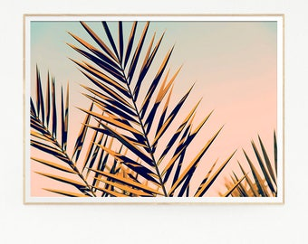 Palm Leaf Trees Wall Decor Print Poster Tropical Beach Retro Vintage Colour Photo Nature Sea Minimalist Pink Sky Leaf Sun Photography 1022