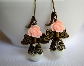 Wedding Vintage Style Angel Earrings. Handmade Earrings. Bridesmaid Earrings. Bohemian Wedding Earrings. Bridal Earrings. Vintage. Under 20.