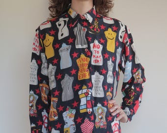 90's Moschino pop art dress form oversize rayon shirt/ Moschino Jeans