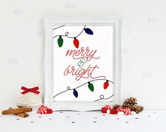 Merry and Bright - PRINTABLE Wall Art / Christmas Lights Wall Art Print / Christmas Printable / Christmas Lyrics / Merry & Bright Lyrics Art