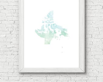 Nunavut Territory Printable - digital download, dorm decor, clean and simple, watercolor, minimalist art, canada outline