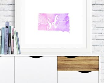 South Dakota Printable - digital download, dorm art, simple, pink and purple watercolor, minimalist art, usa outline map, gallery wall