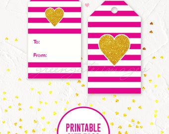 Valentine Gift Tags Printable - heart gift tags, gift tags, tag printable, valentine's printable, galentine's printable, instant download