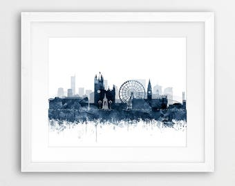 Manchester Skyline Print, Manchester Watercolor Navy Blue White, Manchester England Cityscape Poster, Modern Home Decor Travel Printable Art