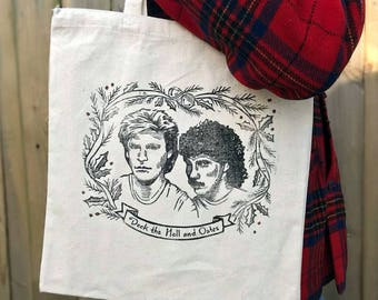 Deck the Hall and Oates Tote Bag/Gift Bag/Handprinted/Linocut/Christmas