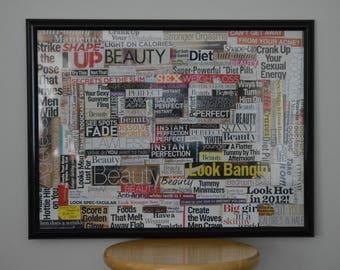 Framed Feminist Magazine Collage