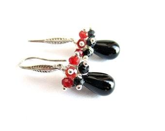 Gemstone drop earrings onyx spinel and carnelian red black stones earrings italian jewelry stone bead earrings gift for her
