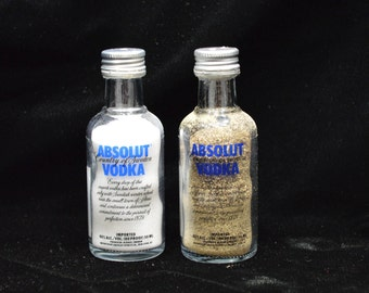 Upcycled Glass Absolut Salt and Pepper Shakers